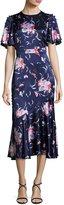 Prabal Gurung Flutter-Sleeve Floral Silk Satin Midi Dress, Blue