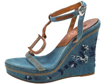 Christian Dior Blue Denim Embroidered Ankle Wrap Wedge Platform Sandals Size 36.5