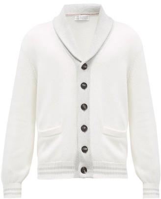 Brunello Cucinelli Shawl-collar Ribbed-knit Cotton Cardigan - Cream