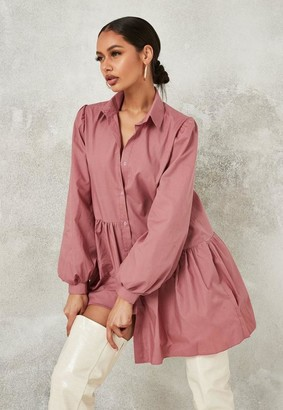 Missguided Pink Asymmetric Tiered Shirt Smock Dress