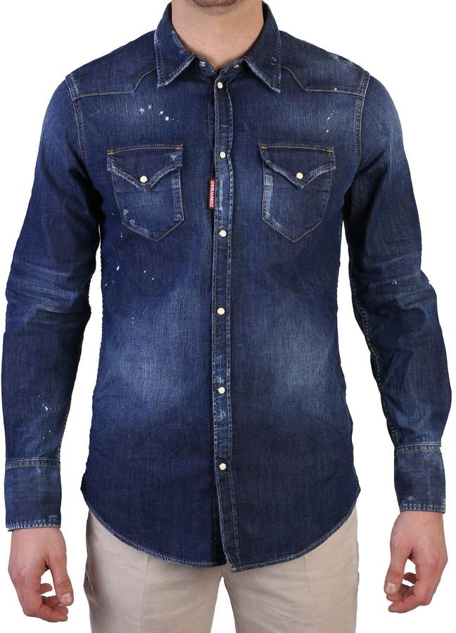 DSQUARED2 Blue Distressed Shirt