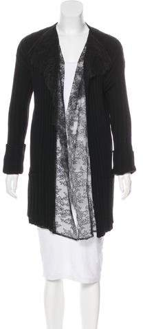 Valentino Lace-Trimmed Virgin Wool Cardigan w/ Tags