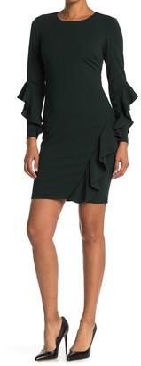 Rachel Roy Long Sleeve Ruffle Front Dress