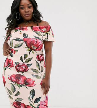 Simply Be bardot tie waist dress in pink floral