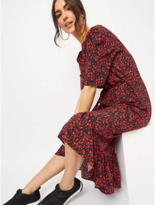 George Red Floral Print Midi Dress