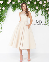 Mac Duggal 79177D Sheer Jewel Neck Brocade Cocktail Dress