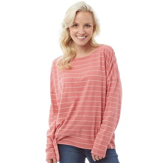 Animal Womens Street Stripes Long Sleeve Knot T-Shirt Faded Rose Pink