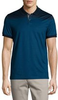 Michael Kors Mercerized Cotton English-Stripe Short-Sleeve Polo Shirt, Midnight