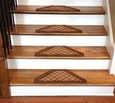 Dean Flooring Company Dean Washable Non Skid Carpet Stair Treads - Beige Checkerboard Hexagon (Set of 13)