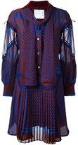 Sacai multi-pattern ruffled dress - women - Cupro/Polyester/Cotton - 3