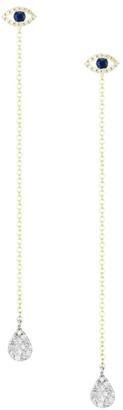 Meira T 14K Yellow Gold, Diamond & Blue Sapphire Evil Eye Drop Earrings