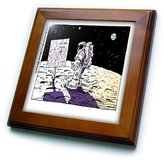 3dRose LLC ft_1631_1 Londons Times Funny Aliens Cartoons - You Are Here Sign On The Moon - Framed Tiles