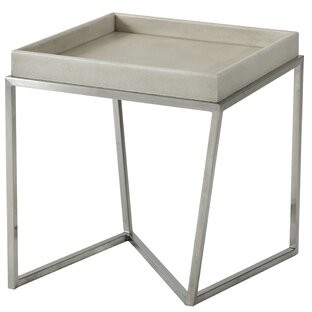 TA Studio Crazy X Tray Table Table Base Color: Brushed Nickel, Table Top Color: Overcast