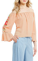 GB Off-The-Shoulder Embroidered Long-Sleeve Top
