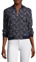 BCBGMAXAZRIA Ribbed Lace Embroidered Jacket