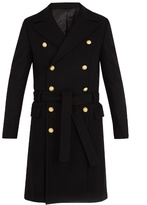 Balmain Double-breasted wool-blend military coat