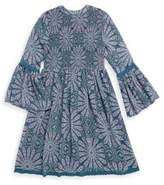 Ella Moss Girl's Elaine Printed Bell-Sleeve Dress