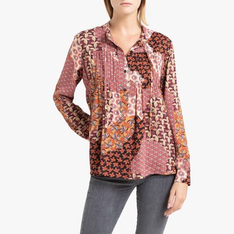La Brand Boutique Collection Petunia Printed Loose-Fit Blouse with Long Sleeves