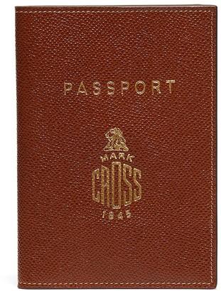 Mark Cross Logo print leather passport cover
