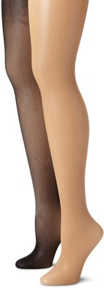 MUSIC LEGS Women's Plus size 2 Pack Spandex Seamless Fishnet Pantyhose