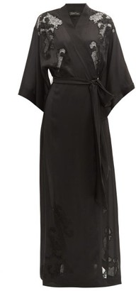 Carine Gilson Lace-embroidered Silk Robe - Womens - Black