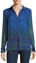Elie Tahari Martha Long-Sleeve Snap-Front Printed Silk Blouse