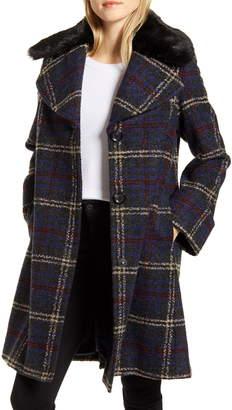 Sam Edelman Plaid Boucle Wool Blend Coat with Faux Fur Trim