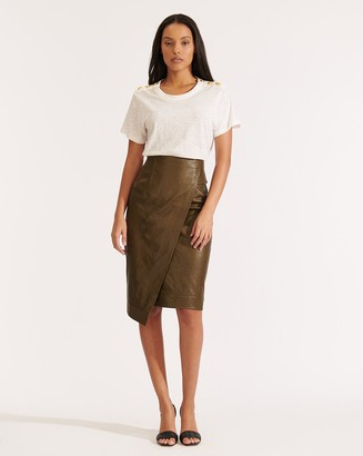 Veronica Beard Delilah Leather Skirt