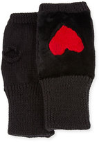 Jocelyn Knit Heart Fingerless Gloves, Black/Red
