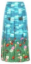 Gucci Printed pleated silk skirt