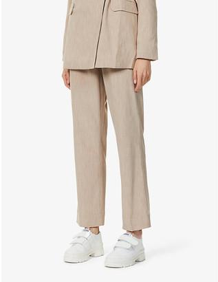 Ganni Melange straight-leg high-rise woven trousers