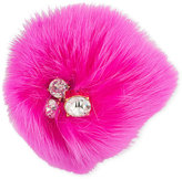 Trina Turk Gold-Tone Pink Fox Fur and Crystal Pin