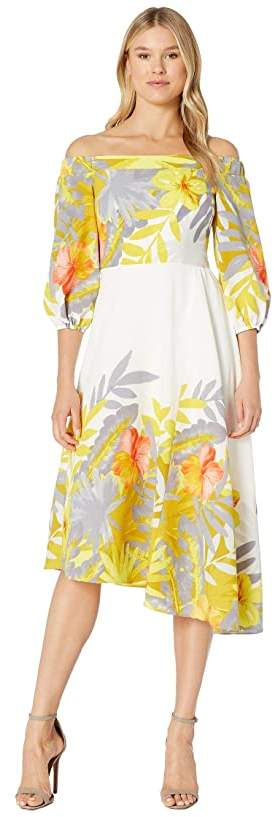 Donna Morgan Off the Shoulder Floral Print Dress