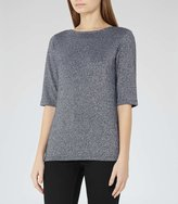 Reiss Joey - Metallic Short-sleeved Top in Blue, Womens