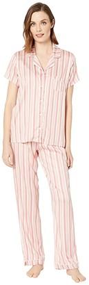 Splendid Short Sleeve Notch Collar Set (Mauve Chalk Vertical Shadow Stripe) Women's Pajama Sets