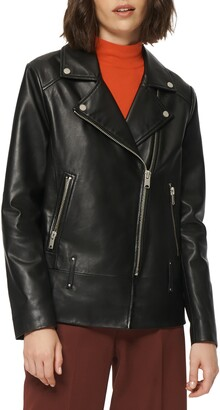 Andrew Marc Elongated Leather Moto Jacket