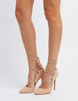 Charlotte Russe Lace-Up Pointed Toe Pumps