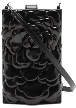 Valentino Atelier Petal-effect Leather Mini Shoulder Bag - Black