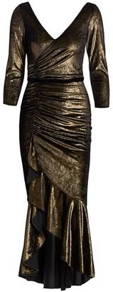 Marchesa Foiled Velvet Ruched Midi Dress