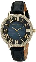 Anne Klein Women's AK/1824BMBK Swarovski Crystal-Accented Gold-Tone Watch with Black Leather Strap