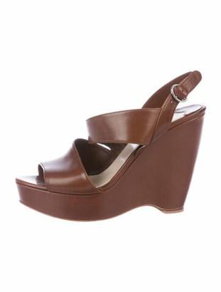 Prada Leather Slingback Sandals Brown