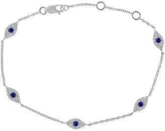 Sabrina Designs 14K 0.45 Ct. Tw. Diamond & Sapphire Evil Eye Bracelet