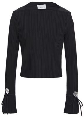 3.1 Phillip Lim Tie-detailed Poplin-paneled Ribbed-knit Top