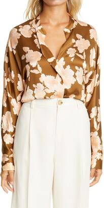 Vince Tapestry Floral Silk Popover Blouse