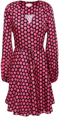 Milly Siena Polka-dot Satin-twill Mini Wrap Dress