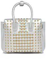 MCM Milla Faux-Pearl Stud Metallic Leather Satchel