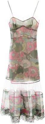 Fendi FLORAL PRINT MIDI DRESS 40 Pink, Green