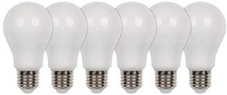Westinghouse Equivalent Warm White A60 LED Light Bulb with E27 Base, 60 W - Pack of 6
