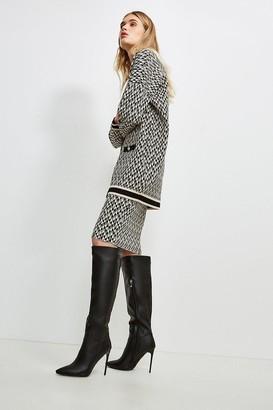 Karen Millen Graphic Jacquard Knit Longline Cardigan