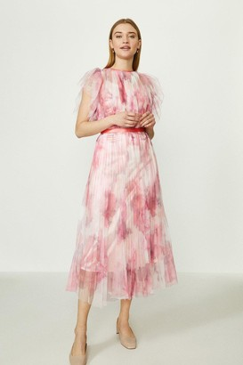 Coast Lace Mesh Printed Dress With Pleated Skirt